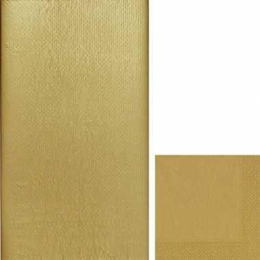 Goedkope gouden tafeldecoratie set tafelkleed/servetten