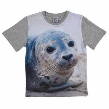 Goedkope grijs t shirt zeehond kinderen