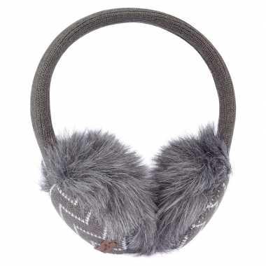 Goedkope grijze gebreide oorwarmers dames