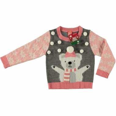 Goedkope grijze kersttrui ijsbeer kinderen