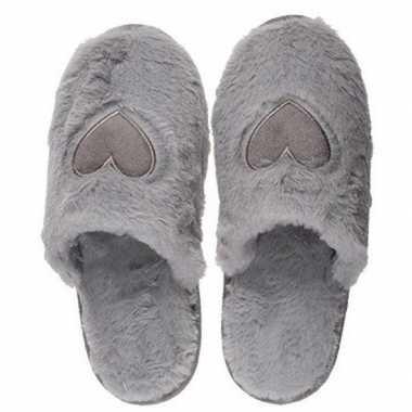 Goedkope grijze pantoffel dames slippers hartjes