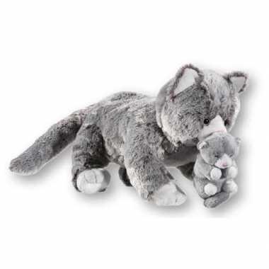 Goedkope grijze pluche poes kitten knuffel