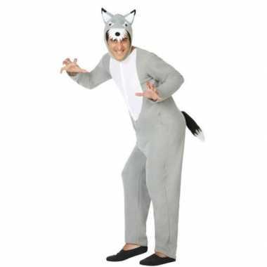 Goedkope grijze wolf dieren verkleed kostuum/onesie volwassenen