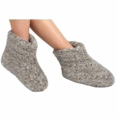 Goedkope grijze wollen sloffen/pantoffels dames/heren