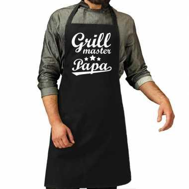 Goedkope grillmaster papa cadeau bbq/keuken schort zwart heren