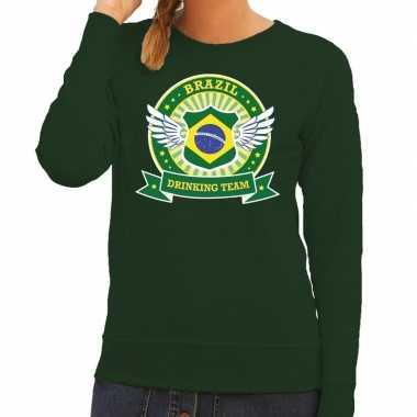 Goedkope groen brazil drinking team sweater dames