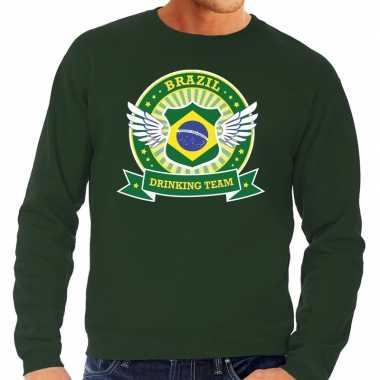 Goedkope groen brazil drinking team sweater heren