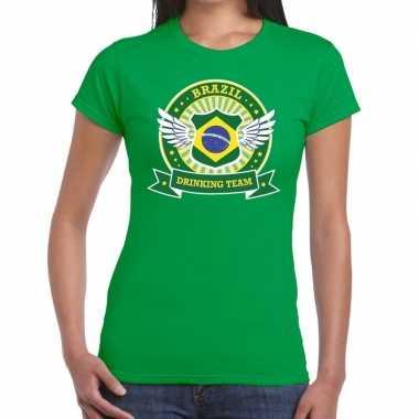 Goedkope groen brazil drinking team t shirt dames