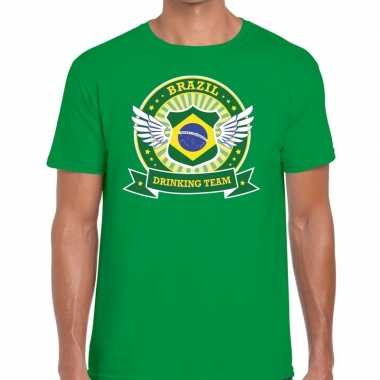 Goedkope groen brazil drinking team t shirt heren