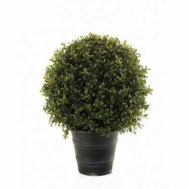 Goedkope groene buxus/bol struik kunstplant zwarte plastic pot