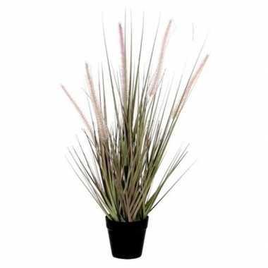Goedkope groene dogtail/siergras kunstplant zwarte pot