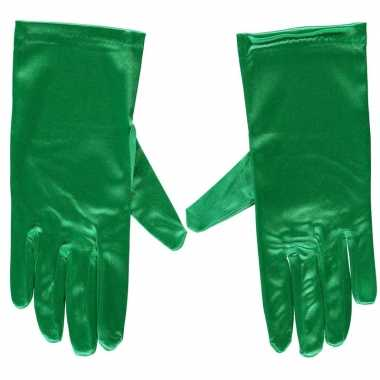 Goedkope groene gala handschoenen kort satijn