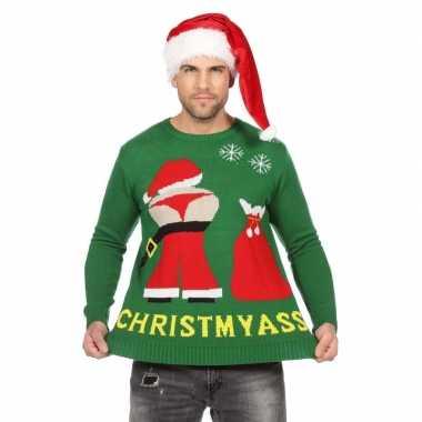 Goedkope groene kerst trui mooning kerstman heren