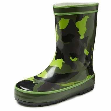 Groene kleuter/kinder regenlaarzen camouflage goedkope
