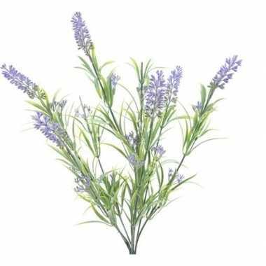 Goedkope groene/lilapaarse lavandula/lavendel kunstplant bosje