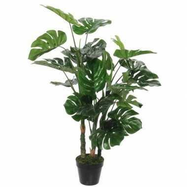 Goedkope groene monstera/gatenplant kunstplant zwarte pot