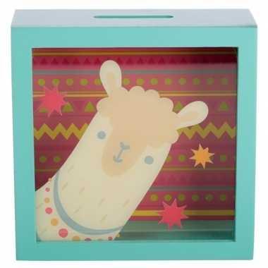 Goedkope groene raam spaarpot alpaca/lama