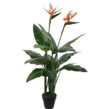 Goedkope groene strelitzia/paradijsvogel kunstplant zwarte pot