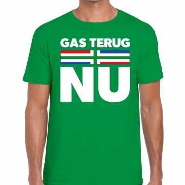 Goedkope groningen protest t shirt gas terug nu groen heren