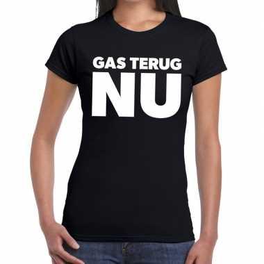 Goedkope groningen protest t shirt gas terug nu zwart dames