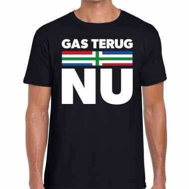 Goedkope groningen protest t shirt gas terug nu zwart heren