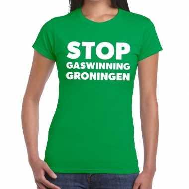 Goedkope groningen protest t shirt stop gaswinning groen dames