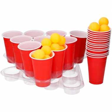 Goedkope grote beer pong set rode cups