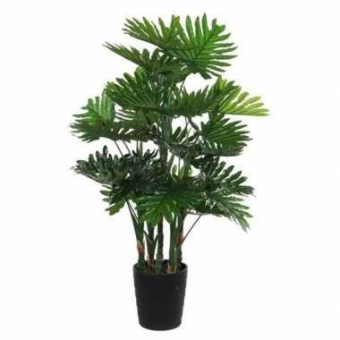 Goedkope grote groene philodendron kunstplant zwarte pot