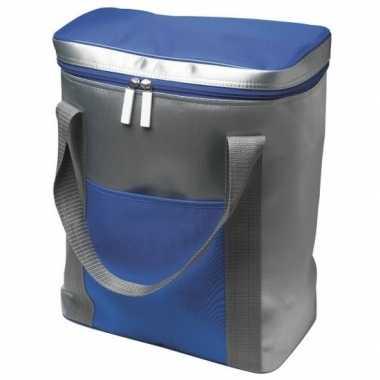 Goedkope grote koeltas zilver/blauw liter