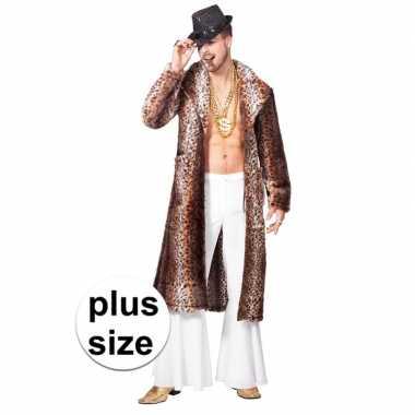 Goedkope grote maat bruine pimp/pooier verkleed jas heren