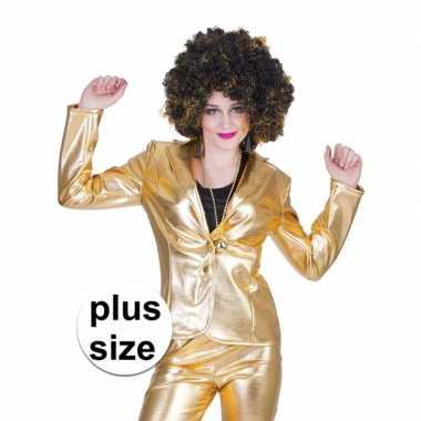 Goedkope grote maat gouden disco seventies colbert/jasje dames
