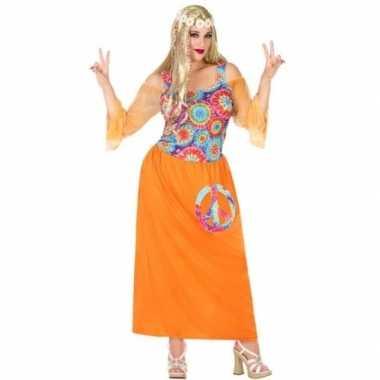Goedkope grote maat oranje hippie/flower power verkleed jurk dames
