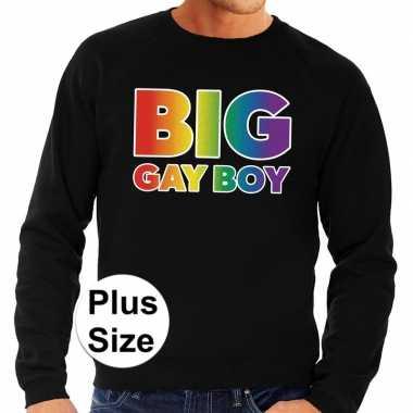 Goedkope grote maten big gay boy regenboog sweater zwart heren