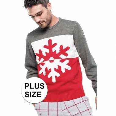 Goedkope grote maten foute kersttrui grijs/rood sneeuwvlok heren