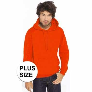 Goedkope grote maten oranje sweater/trui hoodie heren