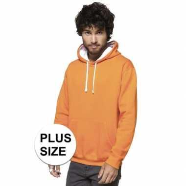 Goedkope grote maten oranje/witte sweater/trui hoodie heren