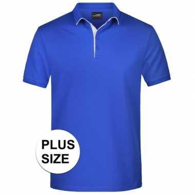 Goedkope grote maten polo shirt golf pro premium blauw/wit heren