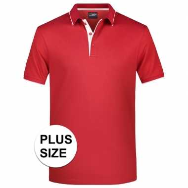 Goedkope grote maten polo shirt golf pro premium rood/wit heren