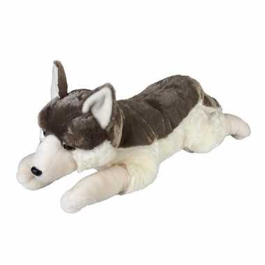 Goedkope grote pluche grijze liggende wolf/wolven knuffel speelgoed