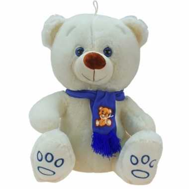 Goedkope grote pluche knuffelbeer wolly creme blauw