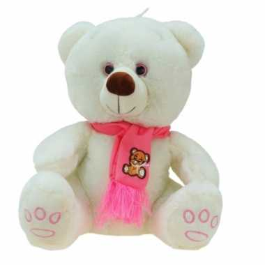 Goedkope grote pluche knuffelbeer wolly creme roze