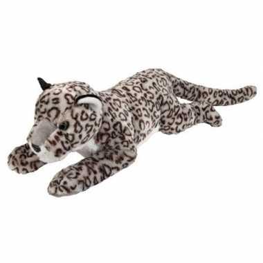Goedkope grote pluche liggende sneeuw luipaard knuffel speelgoed
