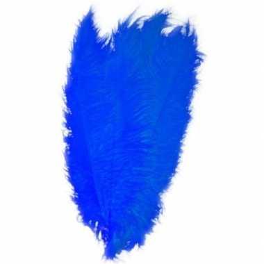 Goedkope grote veer/struisvogelveren blauw verkleed accessoire