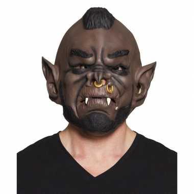 Goedkope halloween bruin ork/goblin halloween masker latex