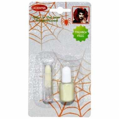 Goedkope halloween glow the dark nagellak lippenstift
