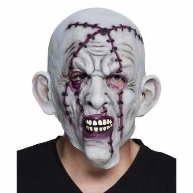 Goedkope halloween grijs horror halloween masker nietjes latex