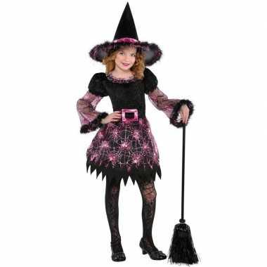 Goedkope halloween heksen kostuum spinnenweb meisjes