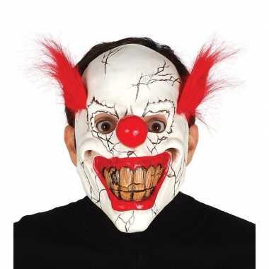 Goedkope halloween masker horror clown rood haar