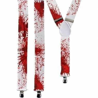 Goedkope halloween witte bretels bloedvlekken volwassenen
