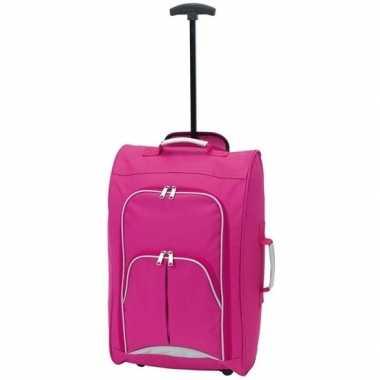 Goedkope handbagage reiskoffer/trolley roze